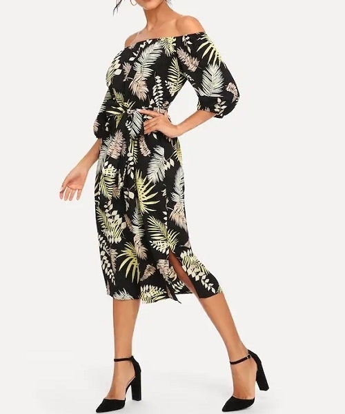 Picture of Tropical Print Bishop Sleeve Dress