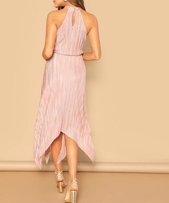 Picture of Asymmetrical Hem Keyhole Back Pleated Halter Dress