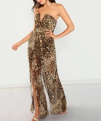 Picture of Slit Front Leopard Print Strapless Jumpsuit