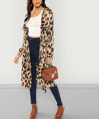 Picture of Animal Print Open Front Shawl Collar Coat