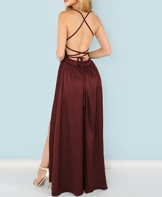 Picture of Lace Up Sequin Bodice Wrap Evening Dress