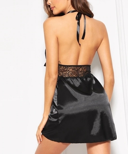 Picture of Contrast Lace Satin Backless Babydoll With Thong