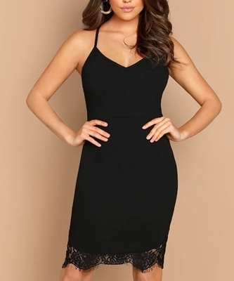 Picture of Contrast Lace Solid Cami Cocktail Dress