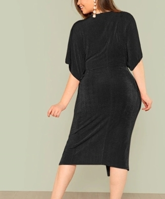 Picture of Twist Front Slit Batwing Dress Plus