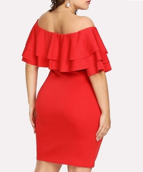 Picture of Off Shoulder Tiered Ruffle Trim Dress