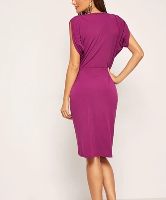 Picture of Gathered Shoulder Surplice Wrap Dress