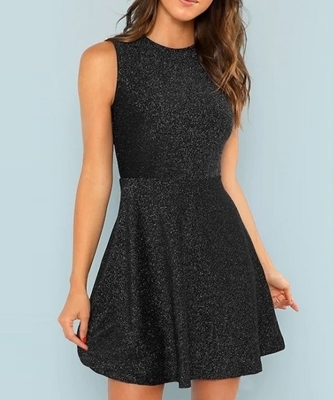 Picture of Fit and Flare Sleeveless Glitter Dress