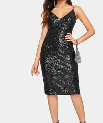 Picture of Slit V-neck Cami Sequin Dress