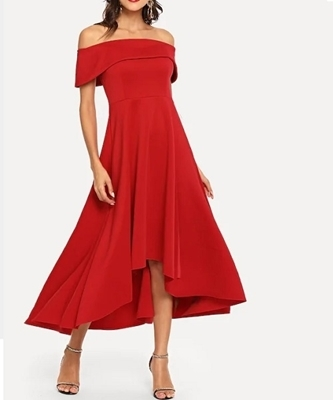 Picture of Ruffle Detail Off Shoulder Solid Dress