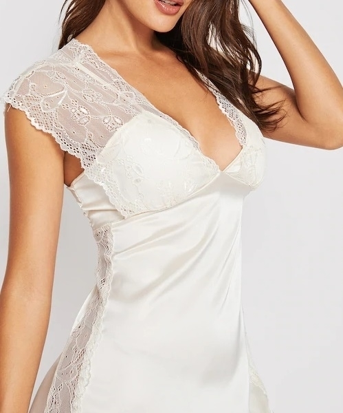 Picture of Floral Lace Insert Babydoll Dress - Champagne