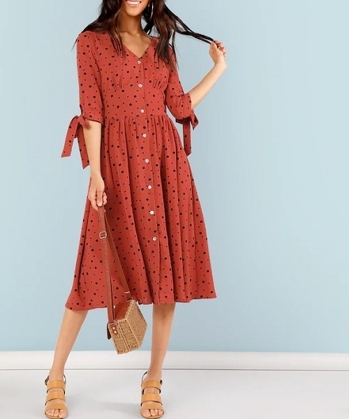 Picture of Button Up Knot Polka Dot Dress