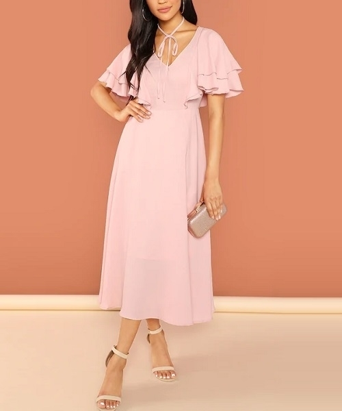 Picture of Tie Neck Flutter Sleeve Solid Dress
