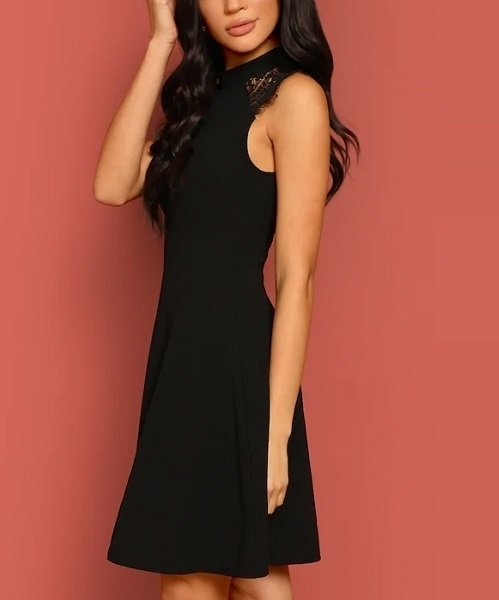 Picture of Mock Neck Lace Insert Fit & Flare Dress