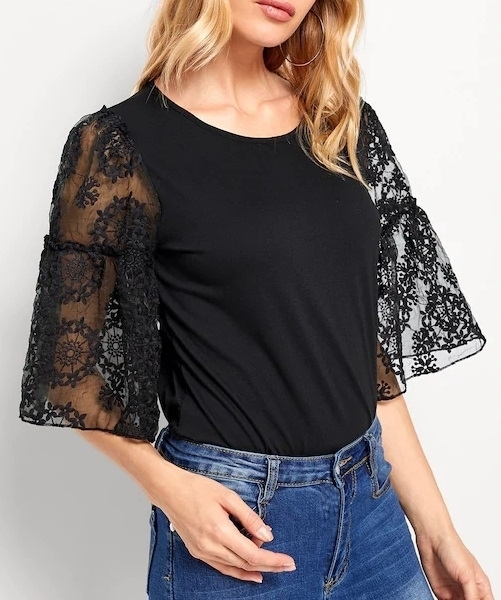 Picture of Lace Panel Sleeve Solid Blouse