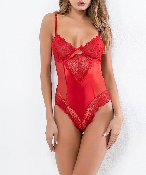 Picture of Scalloped Trim Contrast Lace Teddy