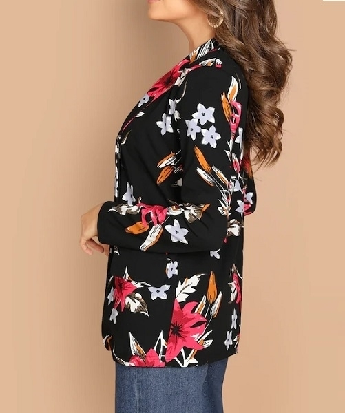 Picture of Light Floral Shawl Collar  Blazer