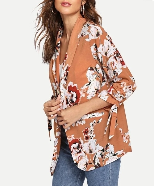 Picture of Drawstring Sleeve Light Floral Print Jacket