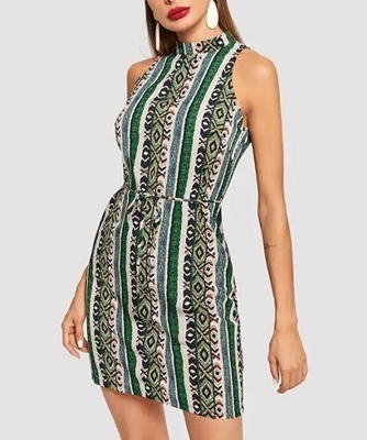 Picture of Allover Print Waist Belted Dress