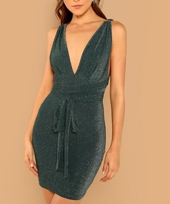 Picture of Plunging Neck Glitter Cocktail Dress