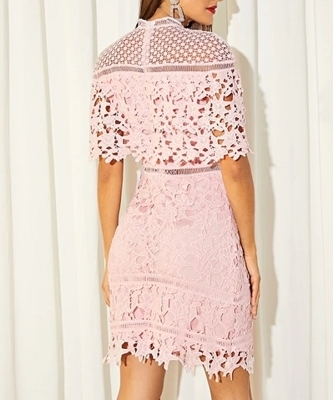Picture of Mock Neck Guipure Lace Dress