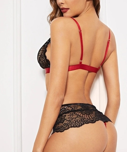 Picture of Adjustable Strap Contrast Lace Lingerie Set