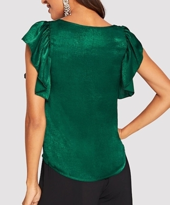 Picture of Scoop Neck Ruffle Armhole Satin Top