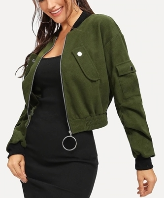 Picture of Drop Shoulder O-ring Zip Crop Bomber Jacket