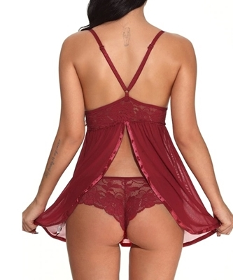 Picture of Mesh Scalloped Trim Babydoll With Thong