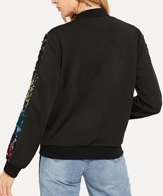Picture of Contrast Sequin Zip Up Jacket