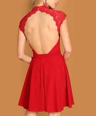 Picture of Lace Bodice Open Back Skater Dress