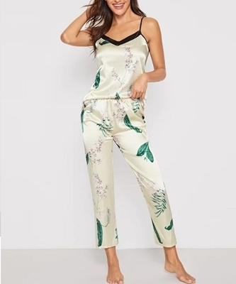 Picture of Floral & Leaf Print Satin Feel Cami Sleepwear Set