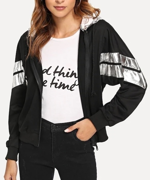 Picture of Silver Striped Zip Hooded Jacket