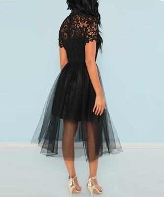 Picture of Floral Lace Bodice Mesh Occasion Dress