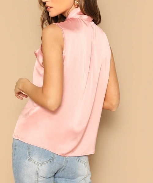 Picture of Satin Tie Neck Sleeveless Solid Top