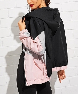 Picture of Color Block Drawstring Detail Hooded Windbreaker Jacket