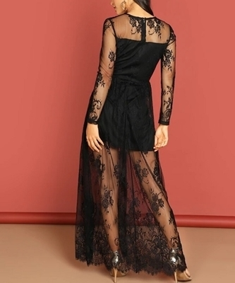 Picture of Contrast Lace Deep V-Neck Occasion Long Dress