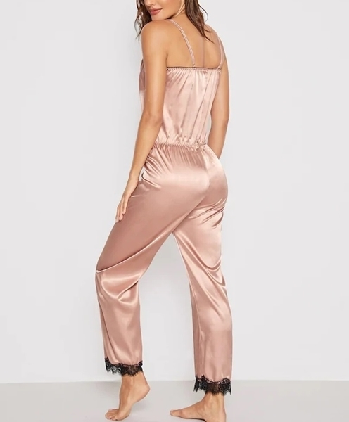 Picture of Lace Trim Satin Cami Sleep Jumpsuit