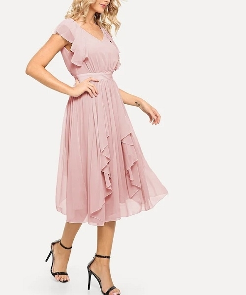 Picture of Ruffle Solid Wide High Waist Dress