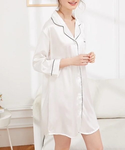 Picture of Contrast Binding Satin Feel Sleep Shirt