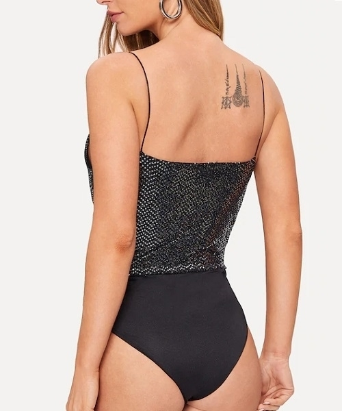Picture of Contrast Sequin V-Neck Cami Bodysuit