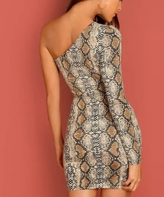 Picture of One Shoulder Snake Pattern Bodycon Dress
