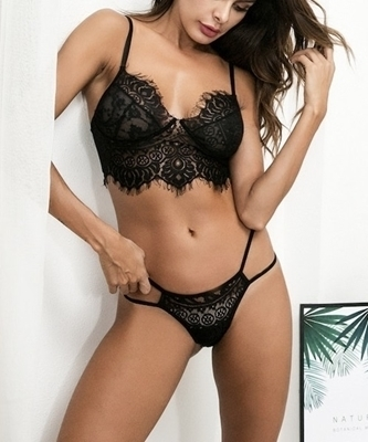 Picture of Eyelash Lace Lingerie Bra Set