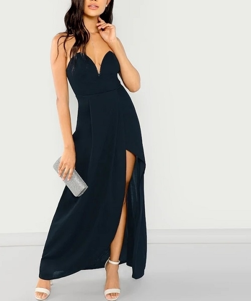 Picture of Bandeau Off Shoulder Split Solid Dress - Navy