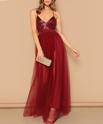 Picture of Crisscross Open Back Sequin Patched Strappy Evening Dress