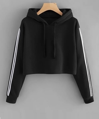 Picture of Stripe Contrast Sleeve Crop Hoodie