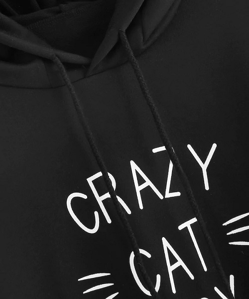 Picture of Cat Ears Letter Print Hooded Sweatshirt