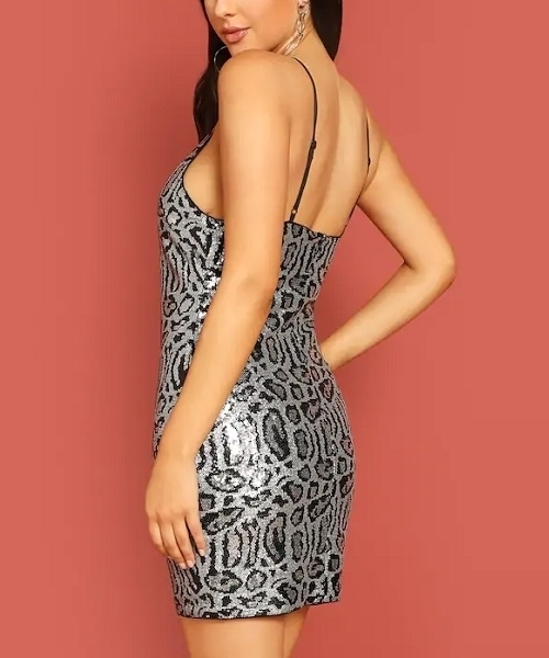 Picture of Leopard Sequin Cami Bodycon Cocktail Dress