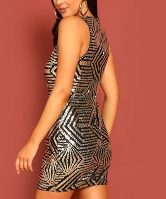 Picture of Geo Sequin Bodycon Cocktail Dress