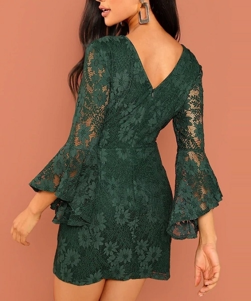Picture of Flounce Sleeve Guipure Lace Cocktail Dress