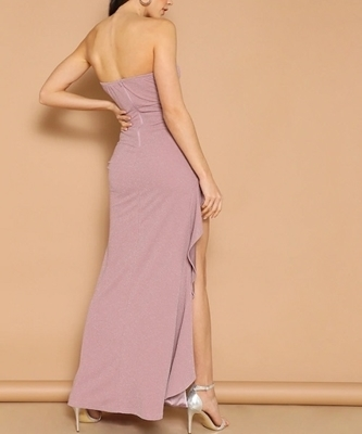 Picture of Asymmetrical Ruffle Hem Glitter Tube Evening Dress
